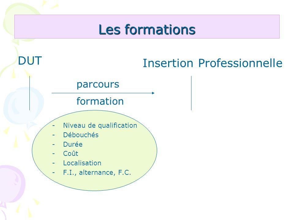 Les formations DUT Insertion Professionnelle parcours formation