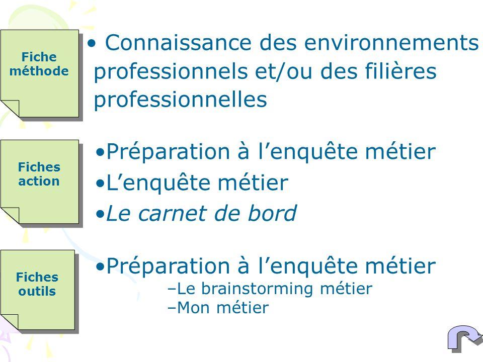 Connaissance des environnements professionnels et/ou des filières