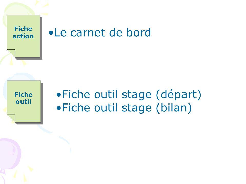 Fiche outil stage (départ) Fiche outil stage (bilan)