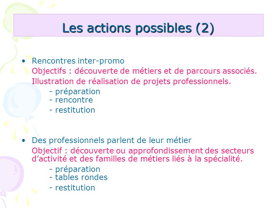 Les actions possibles (2)