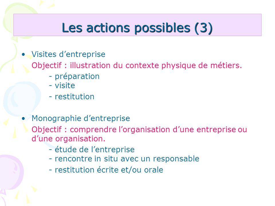 Les actions possibles (3)