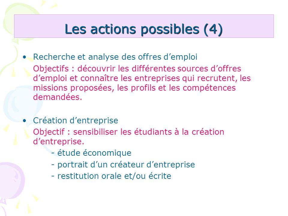 Les actions possibles (4)