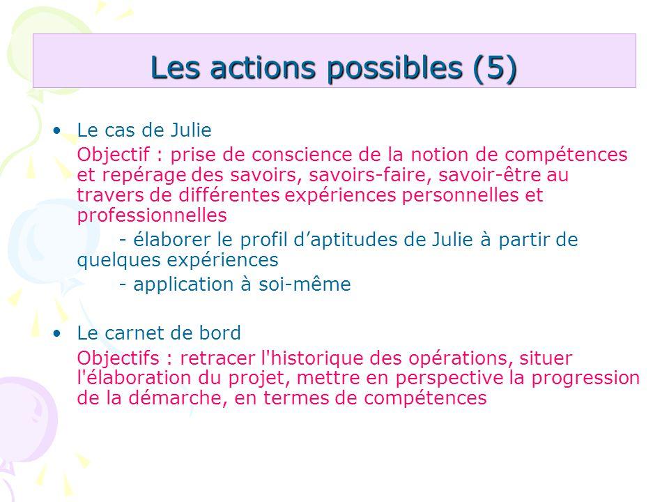 Les actions possibles (5)