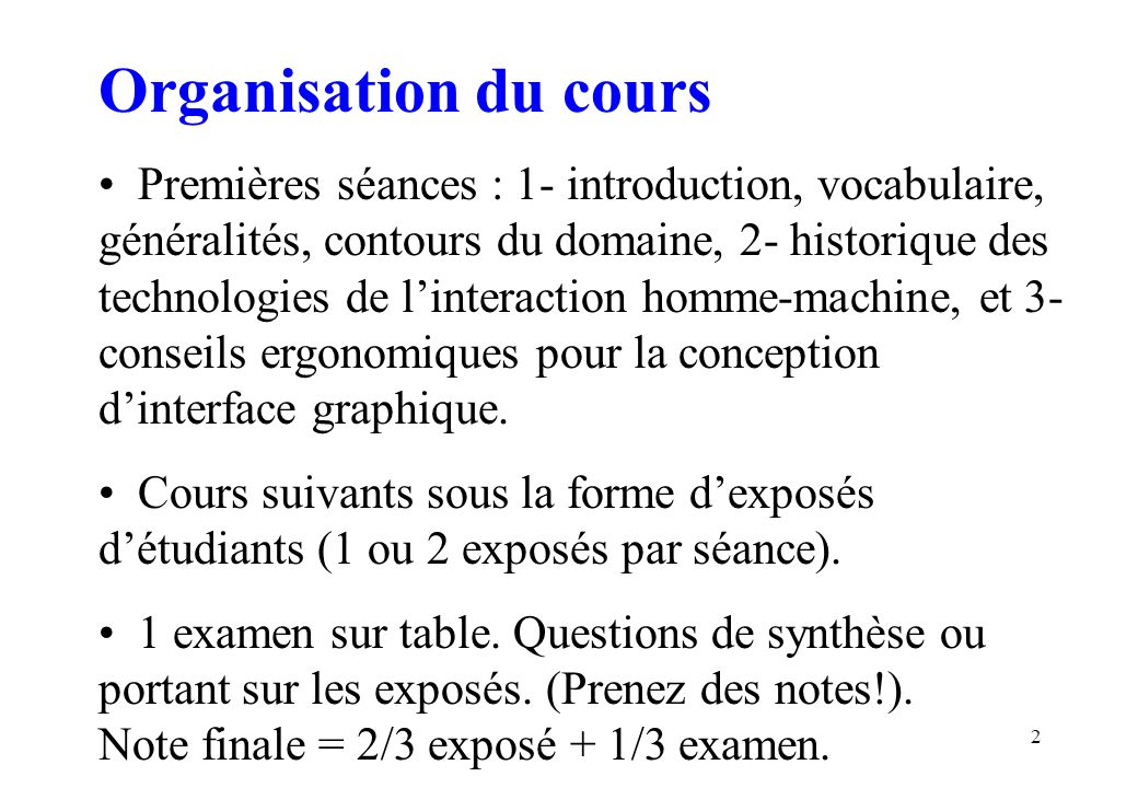 Organisation du cours