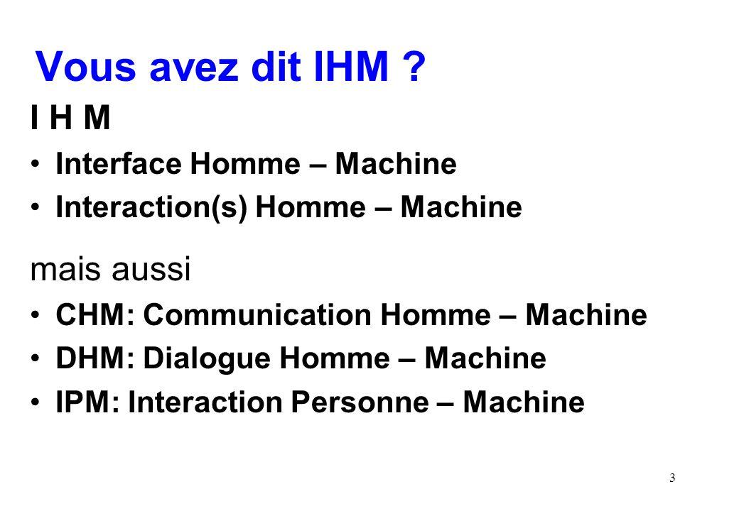 Vous avez dit IHM I H M mais aussi Interface Homme – Machine