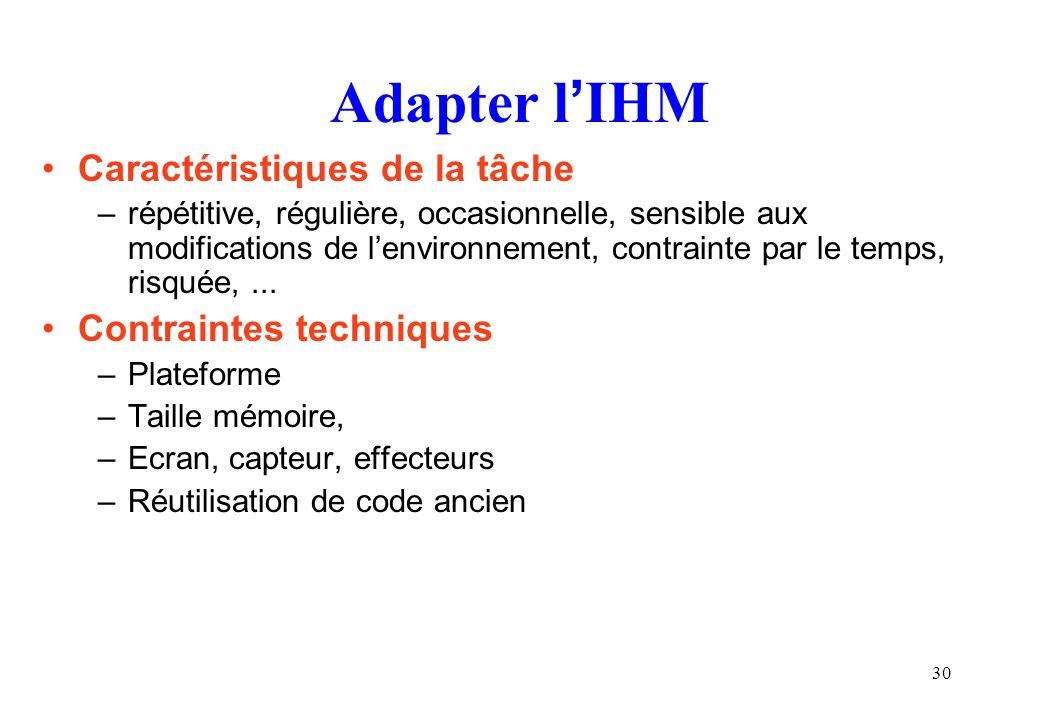 Adapter l'IHM Caractéristiques de la tâche Contraintes techniques