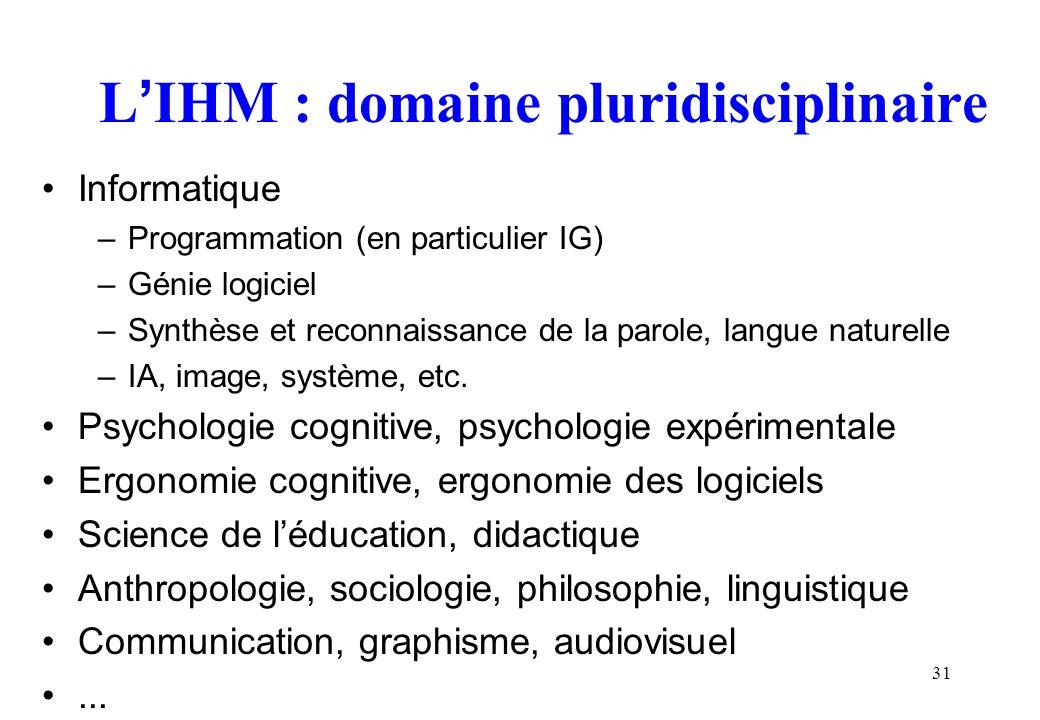 L'IHM : domaine pluridisciplinaire