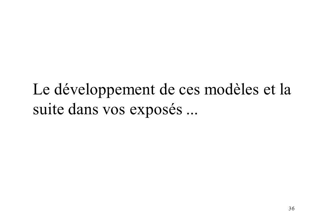 Le développement de ces modèles et la suite dans vos exposés ...