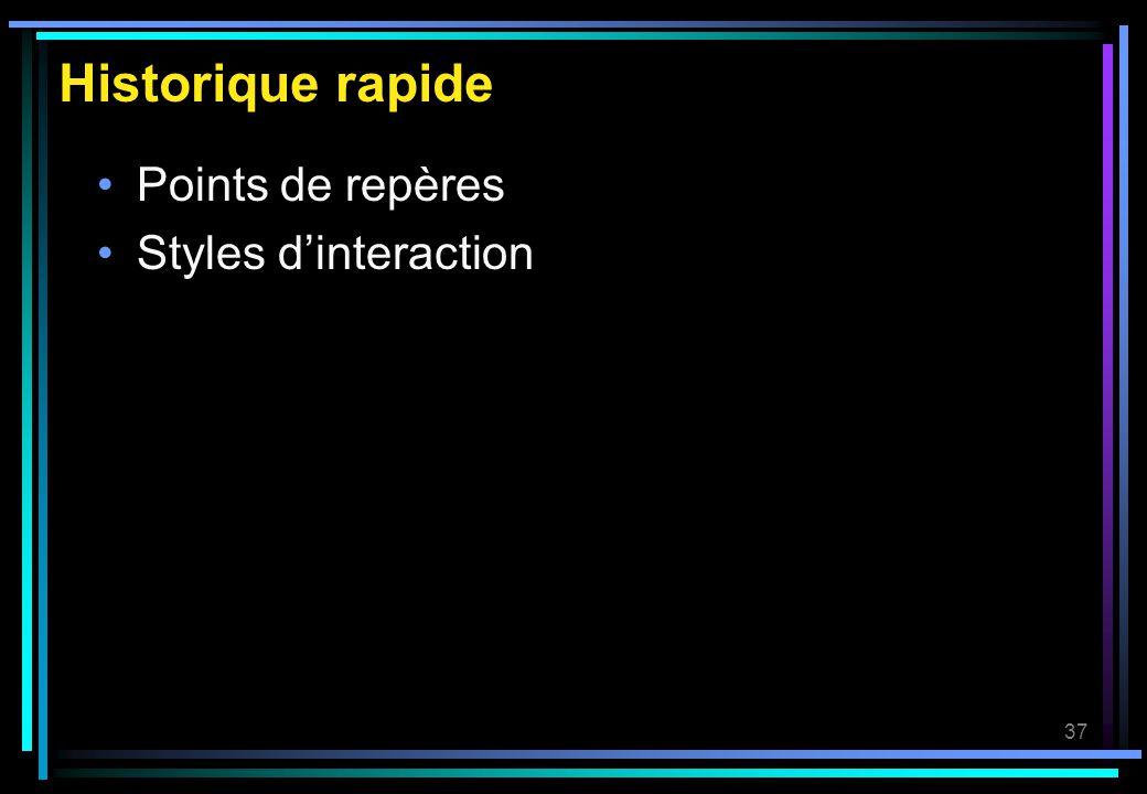 Historique rapide Points de repères Styles d'interaction