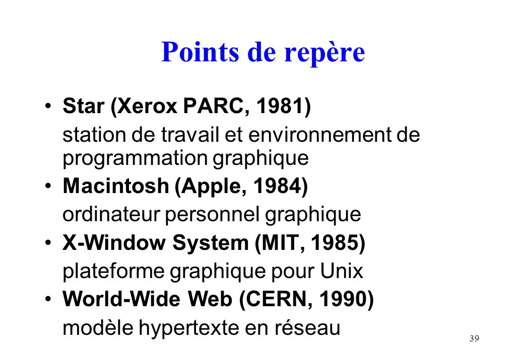 Points de repère Star (Xerox PARC, 1981)