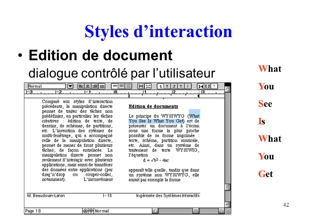 Styles d'interaction Edition de document