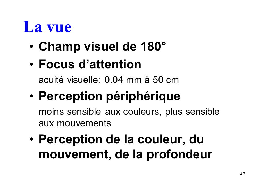 La vue Champ visuel de 180° Focus d'attention Perception périphérique
