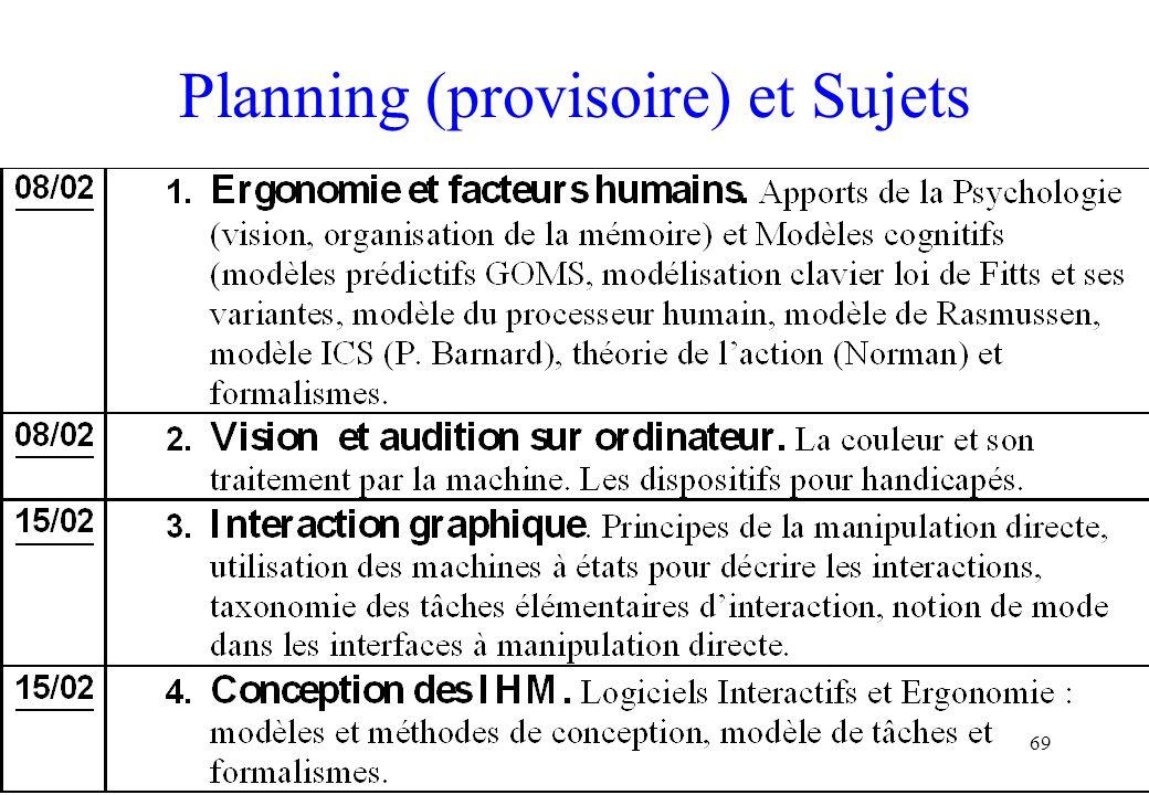Planning (provisoire) et Sujets