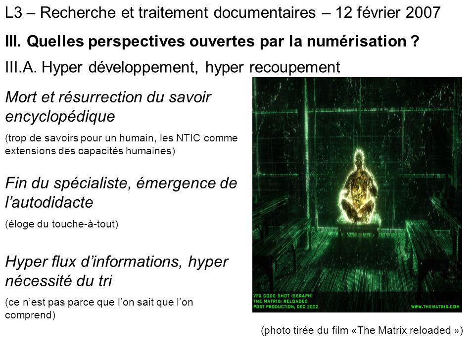 L3 – Recherche et traitement documentaires – 12 février 2007