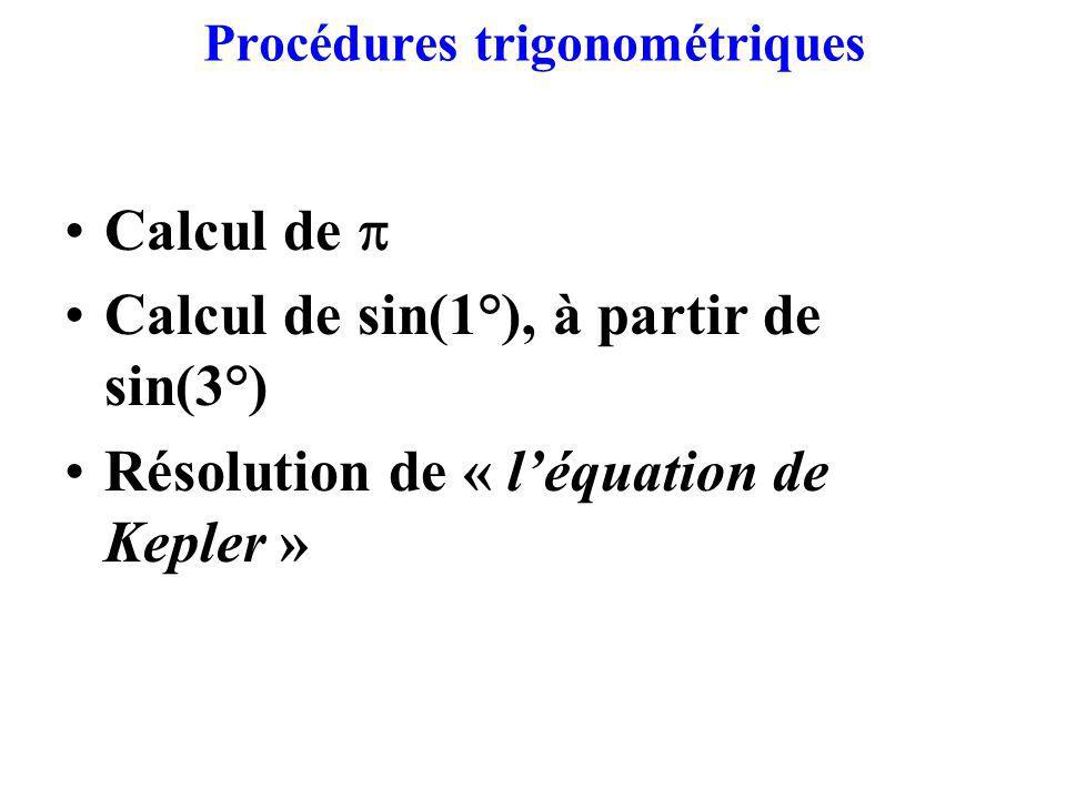 Procédures trigonométriques