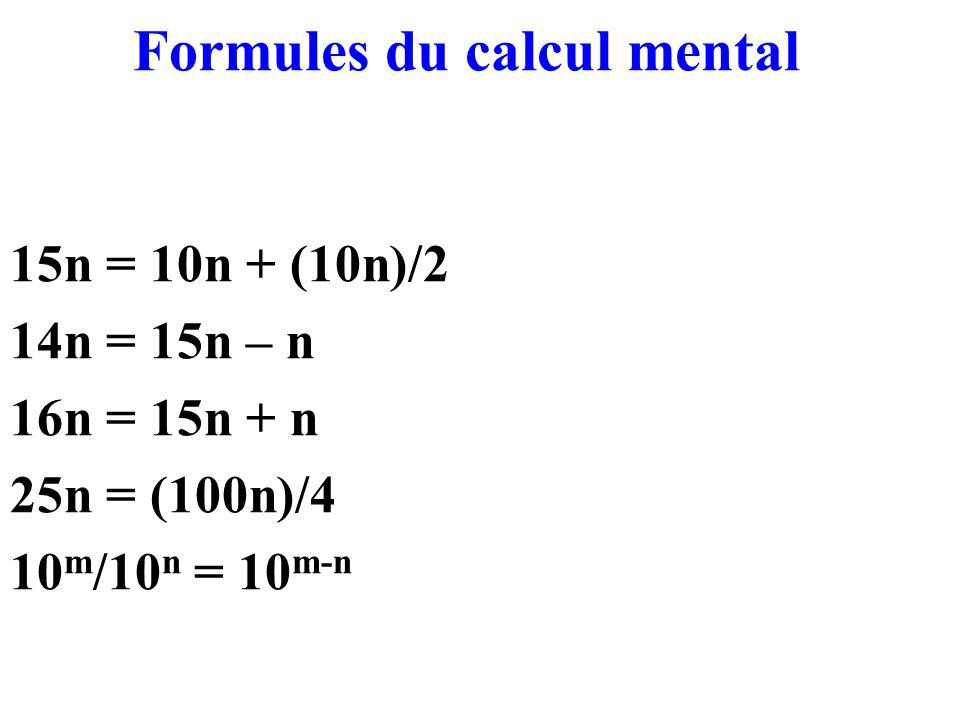 Formules du calcul mental