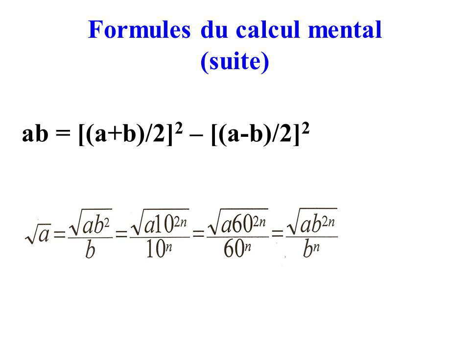 Formules du calcul mental (suite)