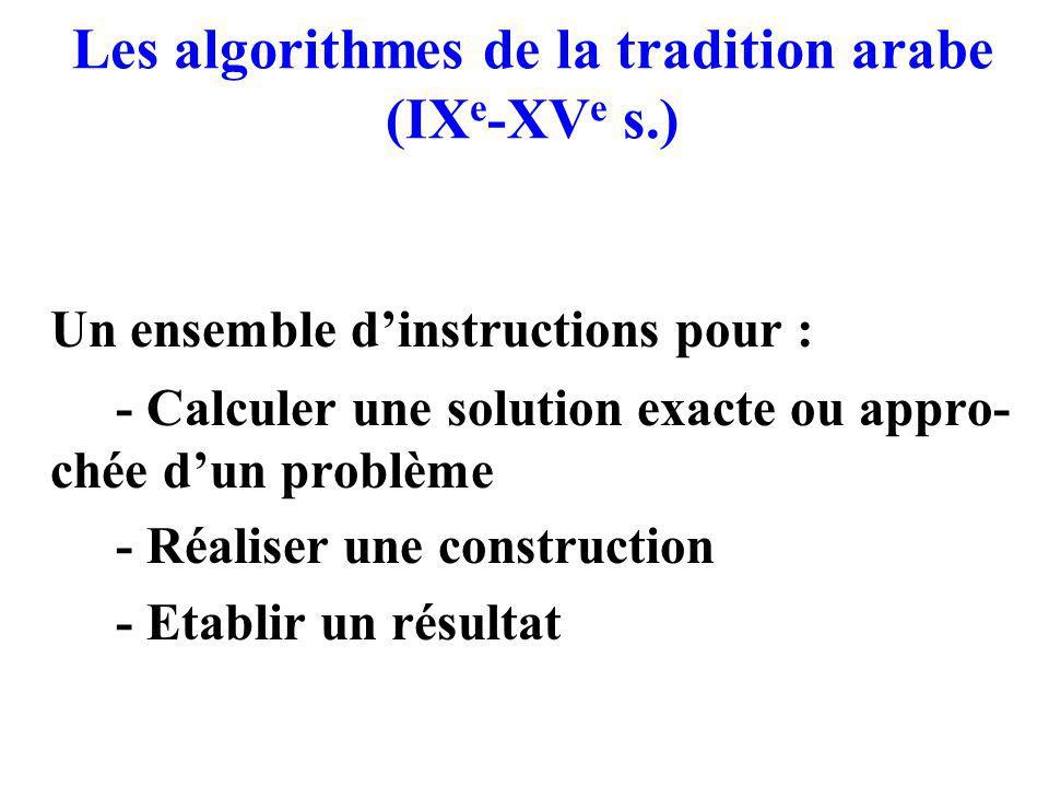 Les algorithmes de la tradition arabe (IXe-XVe s.)