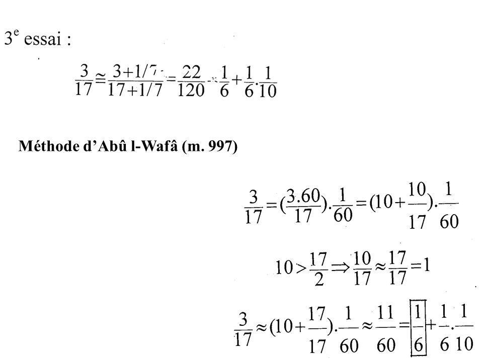 Méthode d'Abû l-Wafâ (m. 997)