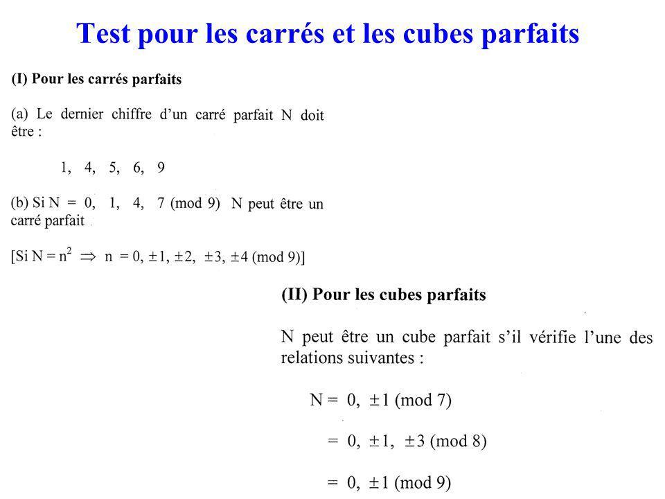 Test pour les carrés et les cubes parfaits