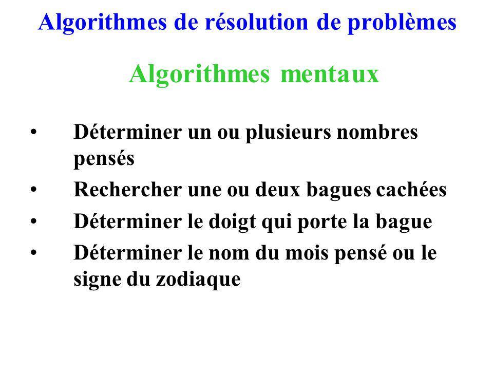 Algorithmes de résolution de problèmes