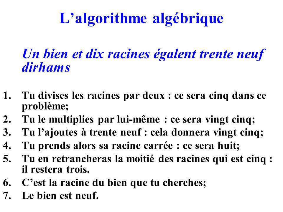 L'algorithme algébrique