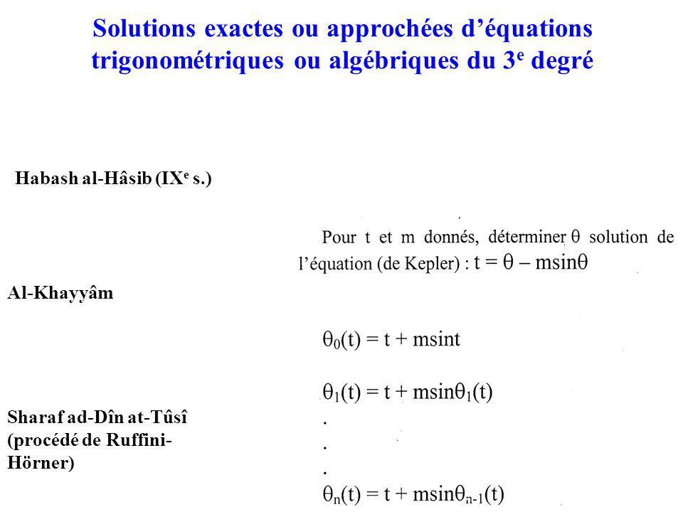 Solutions exactes ou approchées d'équations trigonométriques ou algébriques du 3e degré