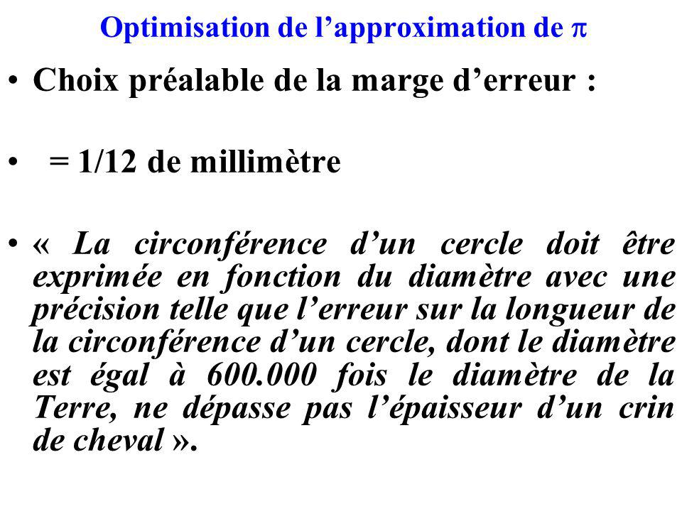 Optimisation de l'approximation de p
