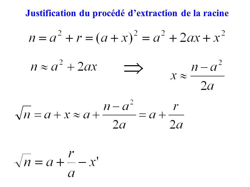Justification du procédé d'extraction de la racine