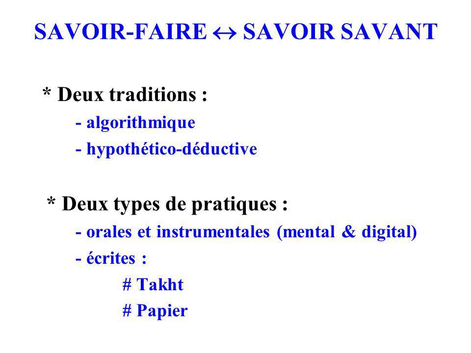 SAVOIR-FAIRE  SAVOIR SAVANT