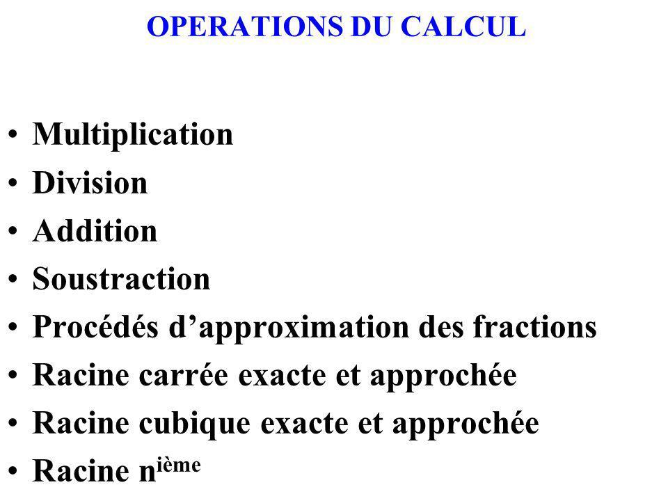 Procédés d'approximation des fractions