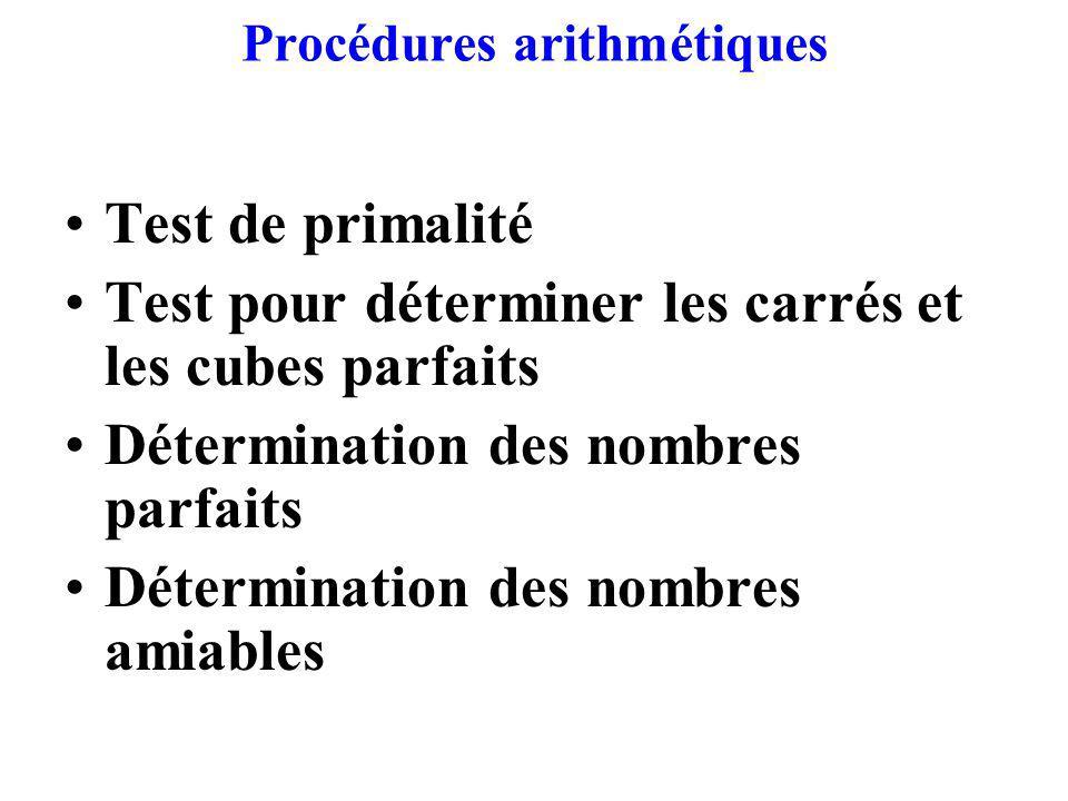 Procédures arithmétiques