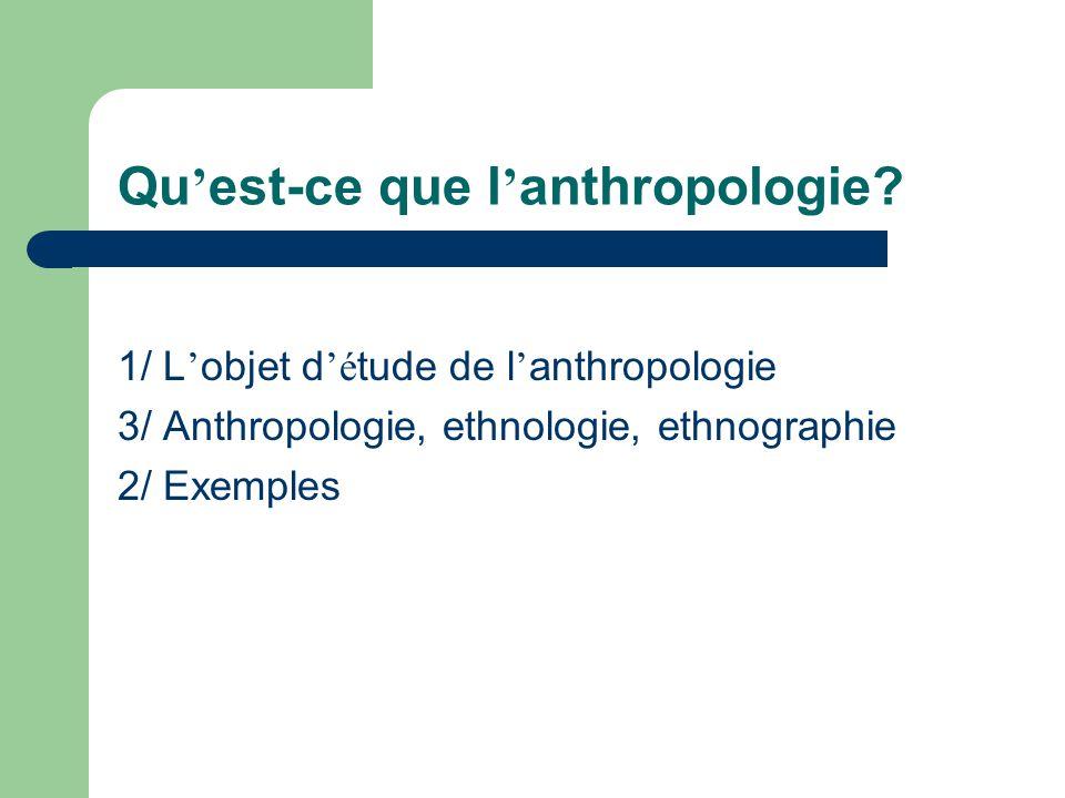 Qu'est-ce que l'anthropologie