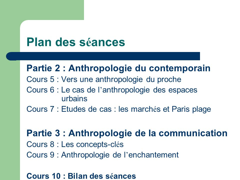 Plan des séances Partie 2 : Anthropologie du contemporain