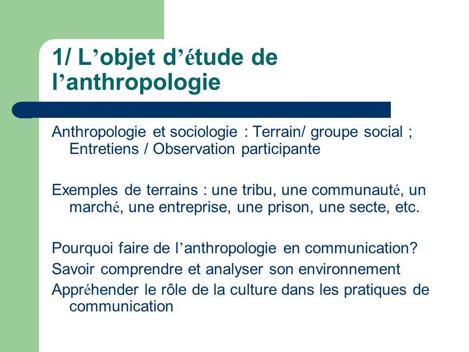 1/ L'objet d'étude de l'anthropologie