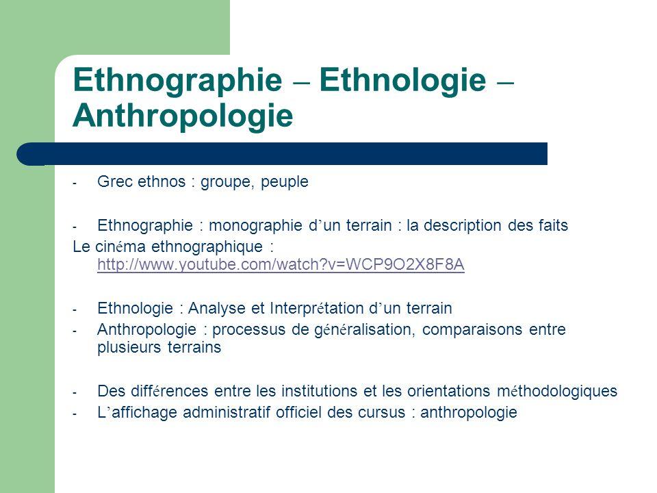 Ethnographie – Ethnologie – Anthropologie
