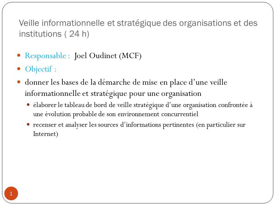 Responsable : Joel Oudinet (MCF) Objectif :