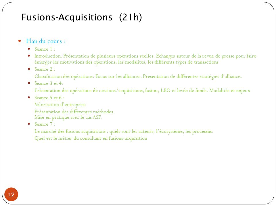 Fusions-Acquisitions (21h)