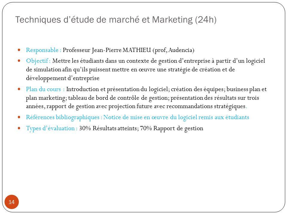 Techniques d'étude de marché et Marketing (24h)