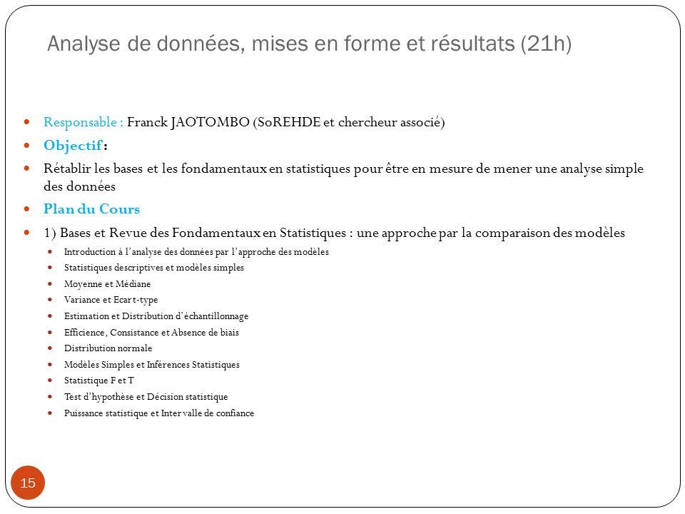 Analyse de données, mises en forme et résultats (21h)