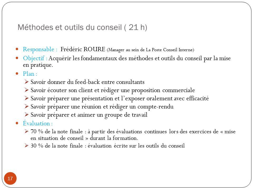 Méthodes et outils du conseil ( 21 h)