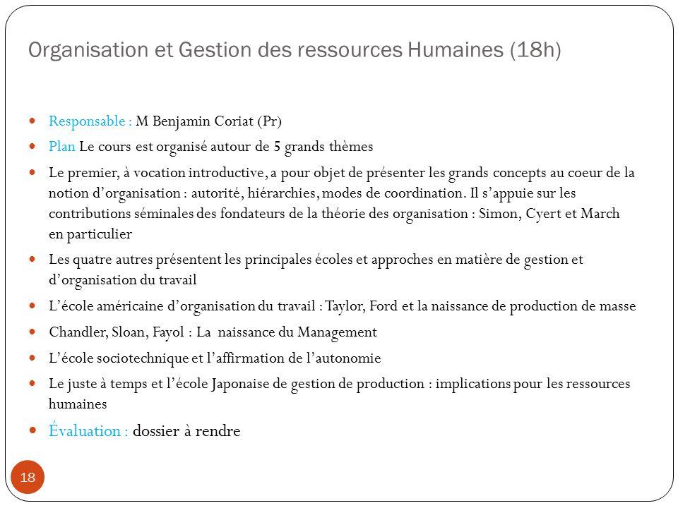 Organisation et Gestion des ressources Humaines (18h)