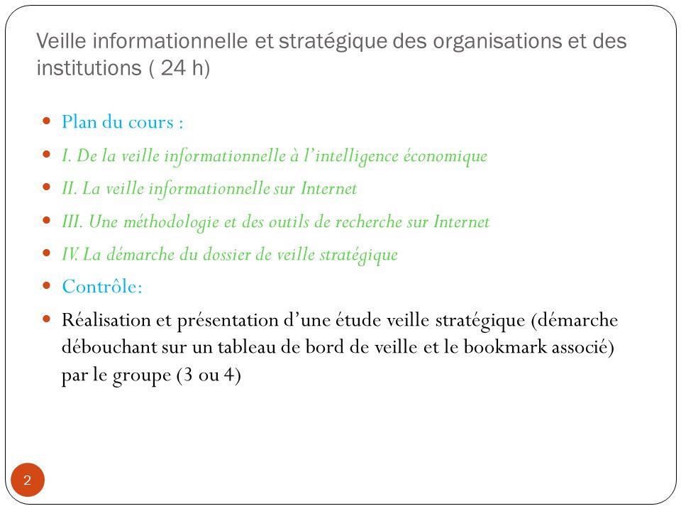 Veille informationnelle et stratégique des organisations et des institutions ( 24 h)