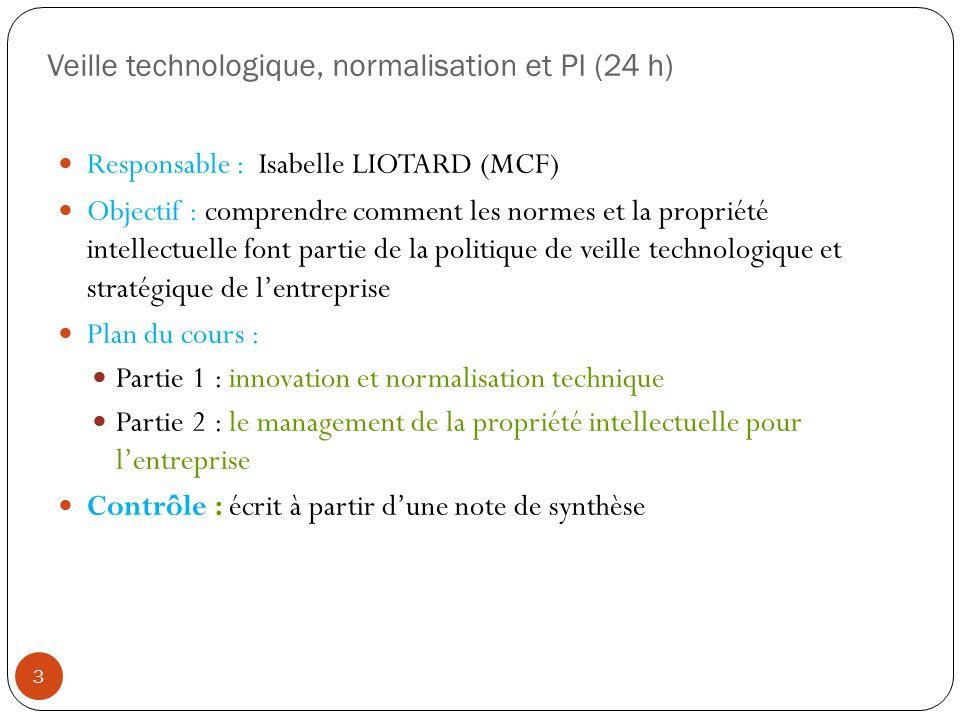 Veille technologique, normalisation et PI (24 h)