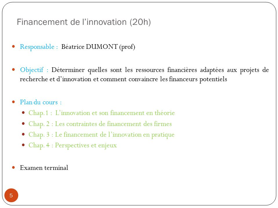 Financement de l'innovation (20h)