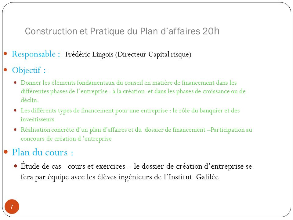 Construction et Pratique du Plan d'affaires 20h