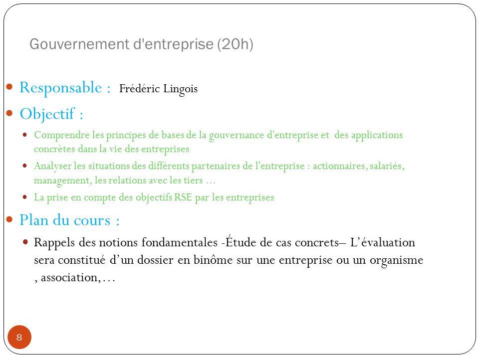 Gouvernement d entreprise (20h)