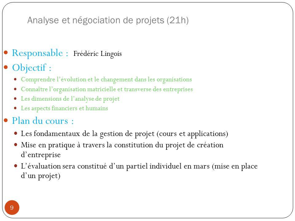 Analyse et négociation de projets (21h)