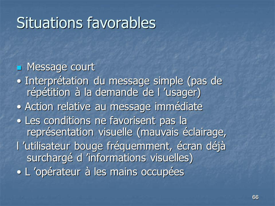 Situations favorables