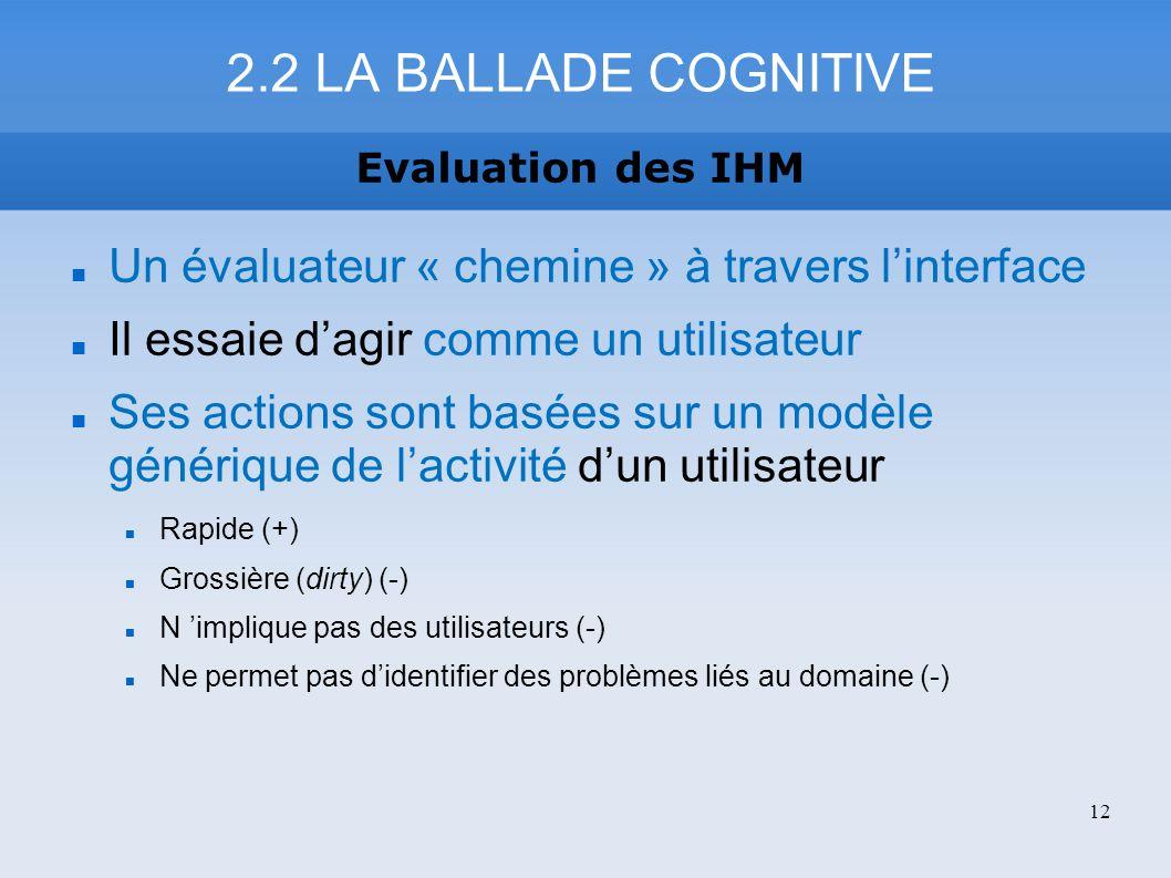 2.2 LA BALLADE COGNITIVE Evaluation des IHM. Un évaluateur « chemine » à travers l'interface. Il essaie d'agir comme un utilisateur.